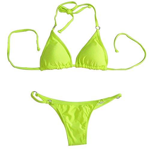 Aidonger - Mujer triangular bikini-set Amarillo