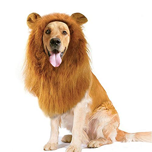 Price comparison product image Dog Costume Lion Mane,  Lion Mane Wig with Ears for Dogs Comfortable Pet Costume Wig for Festival Party Dress Up - Fit for Medium Dogs