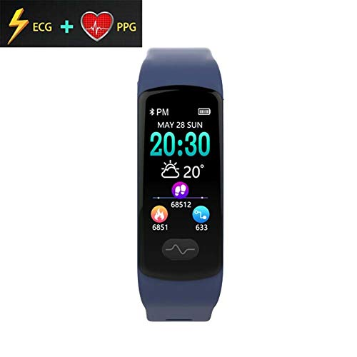 (Smart Watch Fitness Tracker, ECG PPG Heart Rate Monitor Smart Watch, Color Screen IP67 Waterproof E07 (Color : Blue))