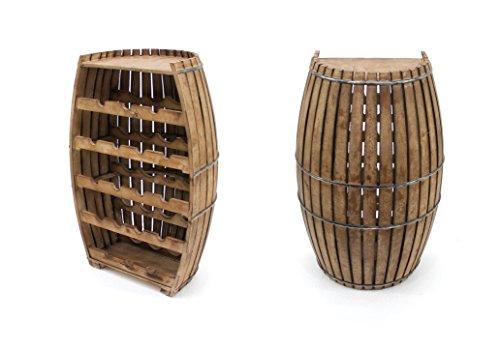 Benjara Wooden Drum Shaped Wine Rack with 5 Level Storage, Brown