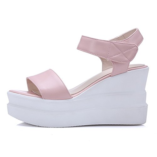 Toe Solid High Pink Womens AmoonyFashion loop Heels Hook PU Open and Sandals nqAYwH5t