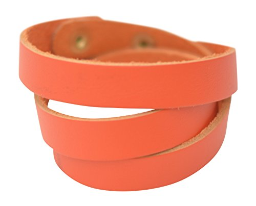 Genuine Orange Bracelets (Triple Wrap Genuine Leather Essential Oil Diffuser Bracelet (Orange))