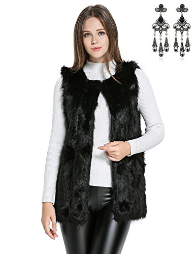 CARINACOCO Femmes Manteau en Fausse Gilet Fourrure Vest Sans Manches Mi-Longue Trench Coat Parka Pour Hiver Automne Noir