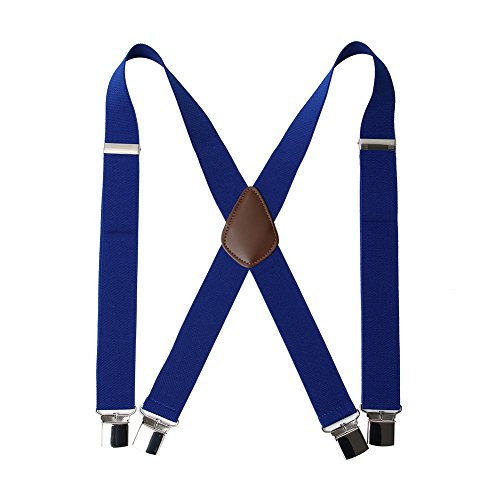 "Men' s X Back Suspenders with 4 Quality Controlled Clips & 1.4"" Wide Braces & Heavy Duty (Royal Blue) ()"