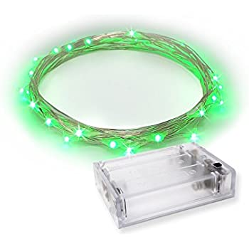 LED String Lights   Fairy Lights Green Color   Battery Operated on Silver Color Wire (20 LEDs - 7 FEET - 1 SET) - RTGS
