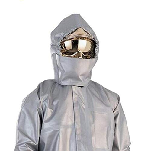HZTWS Chemical Protective Clothing, Fire Protective Overalls, Aluminized Flame Retardant Fabric (Clothing/Pants/Headscarf) Split Suit