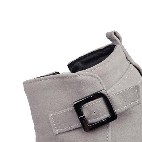 AgooLar Damen Niedriger Absatz Spitz Zehe Rein Reißverschluss Stiefel Grau