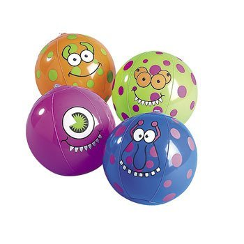 12 Inflatable Monster Beach Balls 4.5'' (Monster Beach Balls)