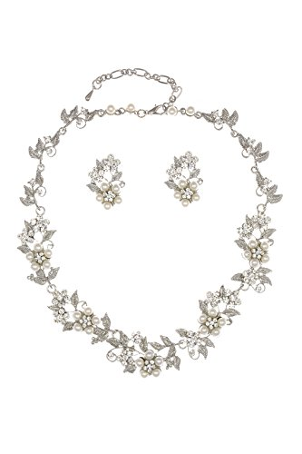Flower Leaf Bridal Prom Pearl Crystal Choker Necklace Earrings Set N336 (Flower Choker Necklace Set)