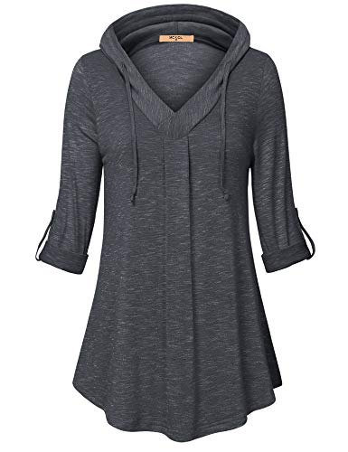 (MCKOL Tunic Blouses for Leggings for Women,Ladies Pullover Hooded 3/4 Sleeve V Neck T-Shirt Pleated Front Long Fitted Shirts Carbon Black XL )