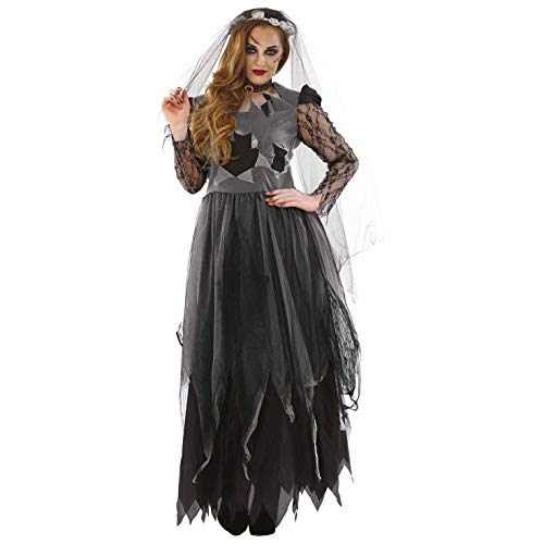 Zombie Bride Halloween Outfits (Womens Corpse Bride Costume Adults Black Zombie Wedding Dress Outfit -)