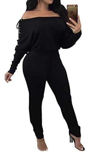 Women's Comfy One Piece Long Bodysuit Off Shoulder Rompers with Sleeves Black S (Bodysuit Comfy)