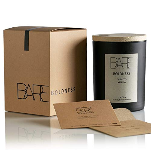 Bare Kollections - Soy Candle, (Boldness) Made in USA | Luxury Candle | Long Lasting | Long Burn Time | Tobacco Candle