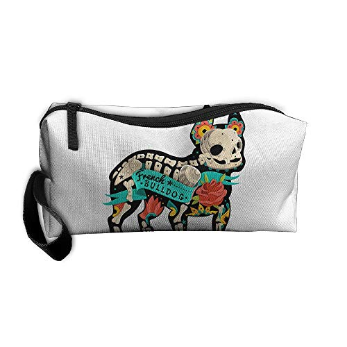 Jessent Coin Pouch Bulldog Skeleton Pen Holder Clutch Wristlet Wallets Purse Portable Storage Case Cosmetic Bags -