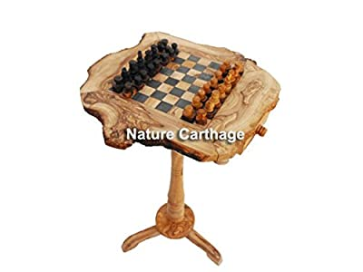"Christmas gift: Olive Wood Rustic Chess Set Board 20"" with stand 22"""