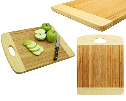 Oversized Large Bamboo Kitchen Cutting Board - Single Handled Thick Oversized Wood Cutting Board - Best Cutting Board for Carving, Butcher Block, Kitchen, Vegetable Board 16 x 12 x 0.9 Inch (X Pics Mia)