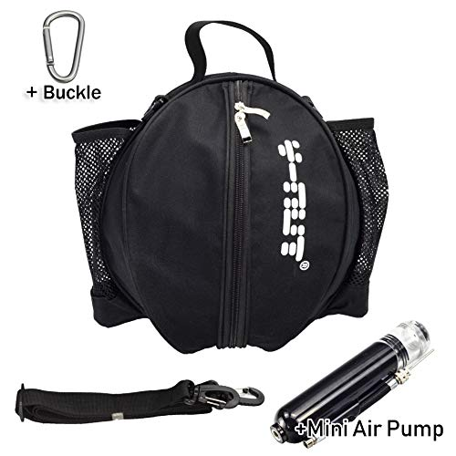 - Y-Nut Basketball Bag with Pocket Size Manual Air Pump, Basketball Shoulder Bag for Outdoor Sport, Great for Carrying Basketball, Soccer Ball, Volleyball, Black