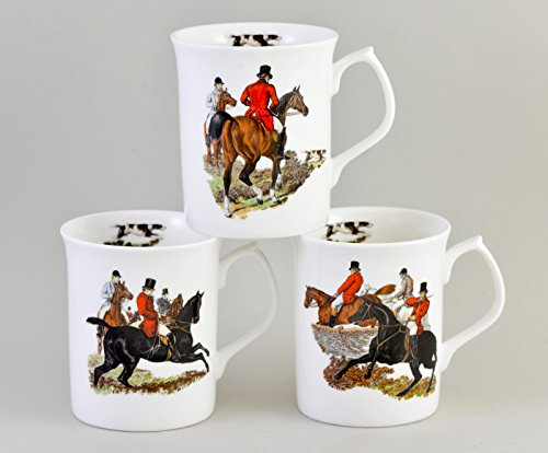 RIDING TO THE HOUNDS Mug Assortment of 3 - Fine English bone (Red Bone Hound Dogs)