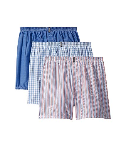 Jockey Men's Underwear Classic Full Cut Boxer - 3 Pack (Blue and Red Stripe Asst, LG (Waist 36-38