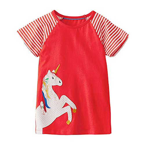 Little Girls Summer Casual Dress - Flower/Unicorn/Easter Bunny Toddler Cotton Outfit Size 5T ()