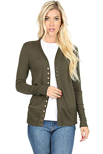 Cardigans for Women Long Sleeve Knit Press-Stud Button Sweater Regular & Plus - Dark Olive (Size S)