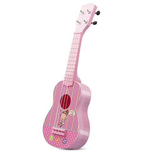 aPerfectLife 21″ Kids Ukulele Guitar Toy 4 Strings Mini Guitar Children Musical Instruments Educational Learning Toys with Picks and Strap for Toddler Kids Boys Girls Beginner Starter (Pink)