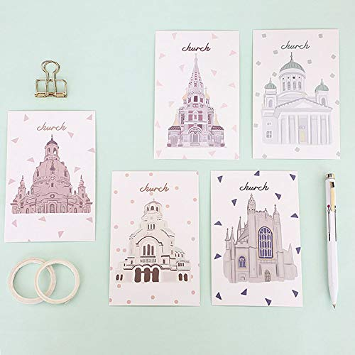 30 pcs Saturday Church Postcard Architectural Landscape Greeting Card lomo Card Christmas & Birthday Card Message Gift Cards