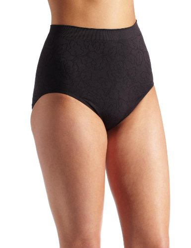Vanity Fair Floral Bras (Vanity Fair Women's Perfectly Yours Seamless Jacquard Brief Panty 13096, Midnight Black, 10/11)