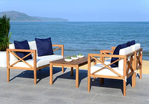 Safavieh PAT7031A Collection Nunzio Teak and White and Navy 4 Pc Accent Pillows Outdoor Set, Natural/Beige ()