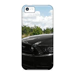DectoriesSquare Iphone 5c Hybrid Tpu Case Cover Silicon Bumper Black Ford Mustang