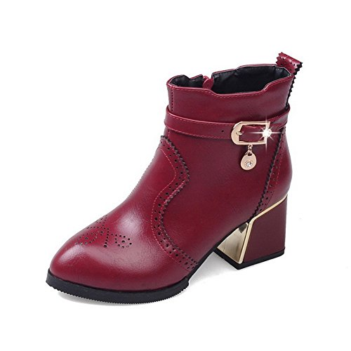 Halloween Events In Columbus Ohio (AmoonyFashion Women's Low-top Zipper Soft Material Kitten-Heels Pointed Closed Toe Boots, Claret, 38)