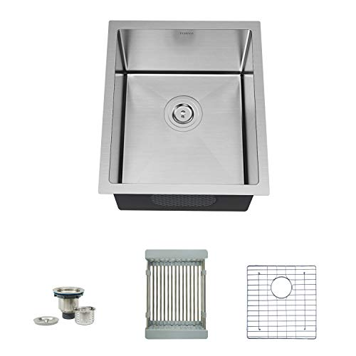 TORVA 17-Inch Undermount 16 Gauge Stainless Steel Single Bowl Kitchen Sink, with Bottom Rinse Grid, Sliding Colander and Basket Drain Strainer, Suit for 20