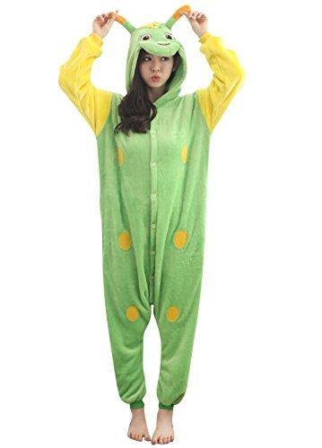 Unisex Green Caterpillar Onesie Adult Pajamas Cosplay Costume for Men & Women,for Halloween,Christmas M Green (Adult Caterpillar Costumes)