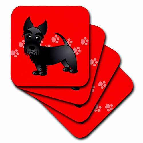 - 3dRose Cute Black Scottie - Cartoon Dog - Red with Pawprints - Ceramic Tile Coasters, Set of 4 (CST_40868_3)