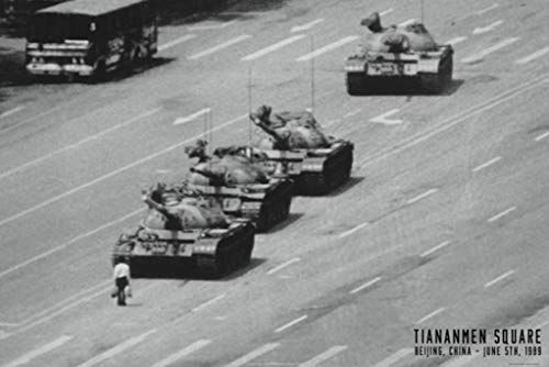 Tiananmen Square Tank Man Or Unknown Protester June 1989 Chinese Military Tanks Poster 36x24