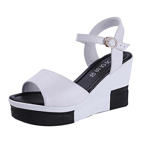 Winwintom Verano de mujer sandalias zapatos peep toe zapatos altos de sandalias romanas señoras flip flops Blanco