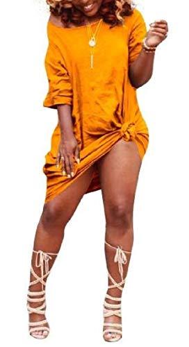 Pluszing Women Plus Size Solid Color Short Sleeve T-Shirt Casual Short Dress