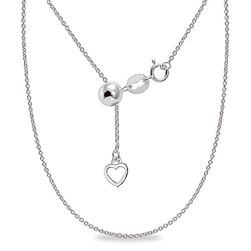 Italian Charm Ball Tennis - Sterling Silver Adjustable Light Thin Rolo Bolo Chain Necklace 20