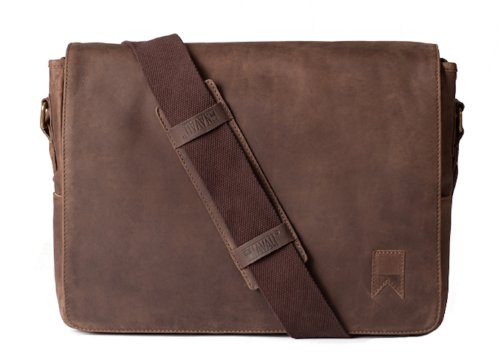 Navali Leather Mainstay Computer Messenger Bag, Brown by Navali