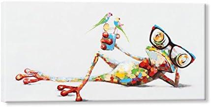 SEVEN WALL ARTS - Pintura al óleo 100 % pintada a mano, diseño de animales, marco estirado, decoración de pared, 45,72 x 91,44 cm