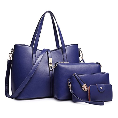 monnaie en de sac 4pcs mis Honeymall uxe carte epaule cuir de à femme Pu Bleu à mode la bandoulière main sac femmes Honeymall de porte gnWOAcRO