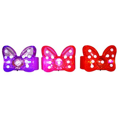 BEST PARTY FAVORS GIFTS 12 Minnie Bow - Bowtie Polkadot Flashing/Light-Up Bracelets: Lavender, Red, Pink -