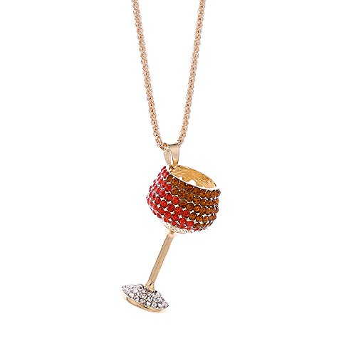 Fashion Womens Charm Colorful Wine Glass Crystal Rhinestone Cute Sweater Pendant ()