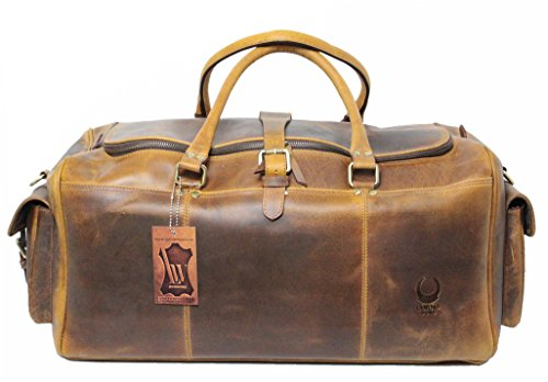 Corno d´Oro Duffel Travel Gym Sports Overnight Weekend Bag Buffalo Leather Vintage Style Chicago by Corno d´Oro