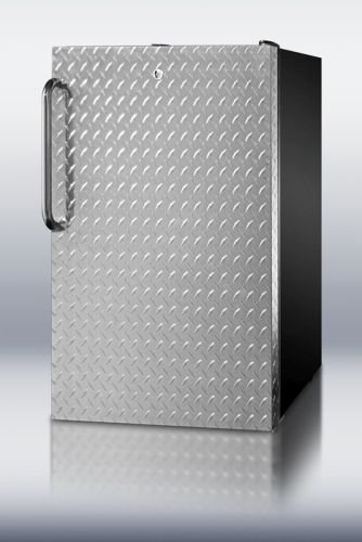 Summit FF521BLDPL Refrigerator, Silver With Diamond Plate