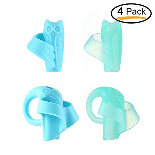 Aolvo Pencil Grips for Kids Handwriting 4 Packs Ergonomic Pencil Gripper Comfortable Finger Grip Writing Learning Training Aid for Preschoolers Toddlers to Hold Pencils Properly and Correctly (Blue) by Aolvo