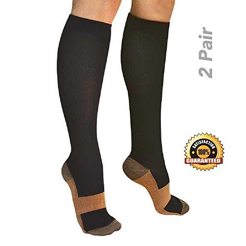 Savoon Fitness tru-Copper Compression Socks, 2-Pair Anti-Fatigue Graduated Compression Socks For Men and Women (Medium) - Pairs 2