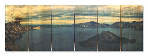 Gizaun Art Crater Lake Collage, 32 x 11'' by Gizaun Art