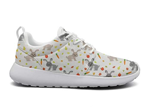 for Women Ultra Lightweight Breathable Mesh Athleisure Sneakers Cute Rabbits Carrots Gray Bunny Fashion Walking Shoes -