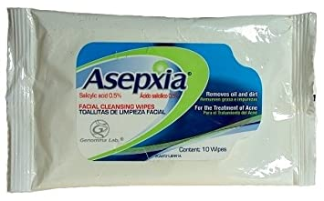Asepxia Facial Cleanser Wipes Acne Skin Treatment - Toallitas De Limpieza Facial